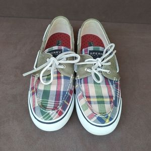 Sperry Top Sider Plaid/Olive Boat Shoes Size 8 1/2